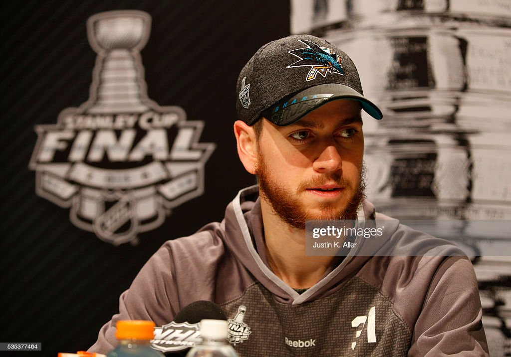 <a gi-track='captionPersonalityLinkClicked' href=/galleries/search?phrase=Martin+Jones+-+Ice+Hockey+Player&family=editorial&specificpeople=12318960 ng-click='$event.stopPropagation()'>Martin Jones</a> #31 of the San Jose Sharks addresses the media during the NHL Stanley Cup Final Media Day at Consol Energy Center on May 29, 2016 in Pittsburgh, Pennsylvania.