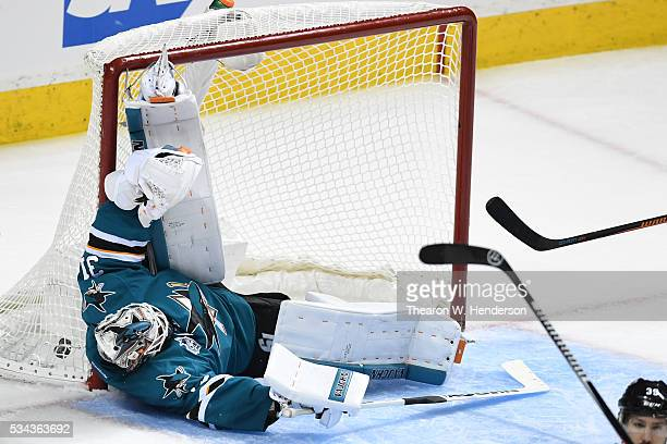 Martin Jones of the San Jose Sharks allows a goal to Vladimir Tarasenko of the St Louis Blues in Game Six of the Western Conference Final during the...
