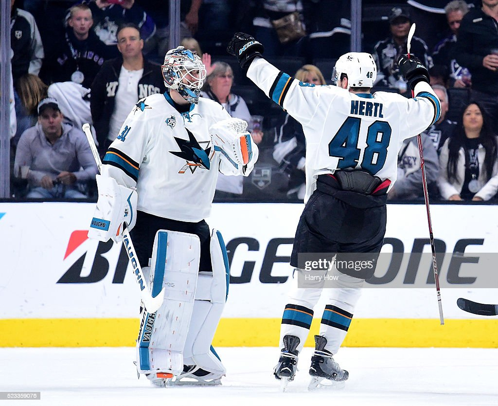 <a gi-track='captionPersonalityLinkClicked' href=/galleries/search?phrase=Martin+Jones+-+Ice+Hockey+Player&family=editorial&specificpeople=12318960 ng-click='$event.stopPropagation()'>Martin Jones</a> #31 of the San Jose Sharks and <a gi-track='captionPersonalityLinkClicked' href=/galleries/search?phrase=Tomas+Hertl&family=editorial&specificpeople=8761287 ng-click='$event.stopPropagation()'>Tomas Hertl</a> #48 celebrate a 5-3 win over the Los Angeles Kings to clinch the series during Game Five of the Western Conference First Round in the 2015 NHL Stanley Cup Playoffs at Staples Center on April 22, 2016 in Los Angeles, California.