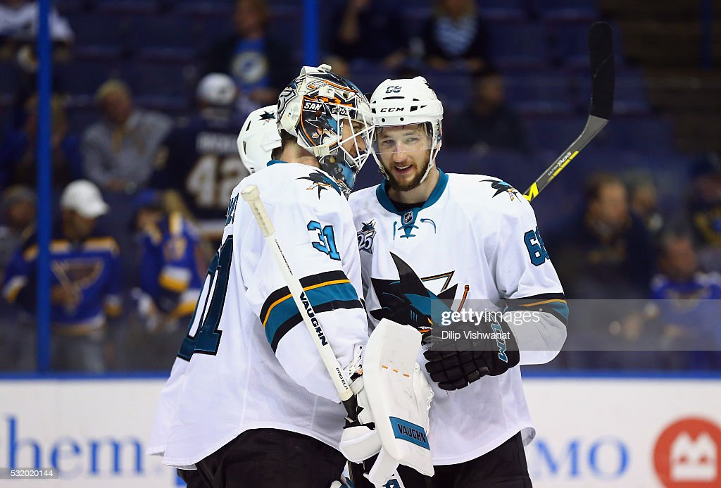 Martin Jones #31 of the San Jose Sharks celebrates with Chris Tierney #50 and Melker Karlsson #68 after defeating the St. Louis Blues 4-0 in Game Two of the Western Conference Final during the 2016 NHL Stanley Cup Playoffs at Scottrade Center on May 17, 2016 in St Louis, Missouri.