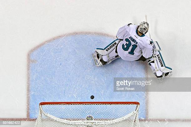 Martin Jones of the San Jose Sharks gives up a goal to Jori Lehtera of the St Louis Blues in Game One of the Western Conference Final during the 2016...