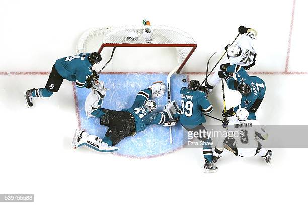 Martin Jones of the San Jose Sharks lays out to make a save against the Pittsburgh Penguins in Game Six of the 2016 NHL Stanley Cup Final at SAP...