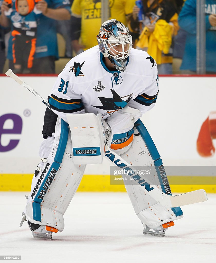 <a gi-track='captionPersonalityLinkClicked' href=/galleries/search?phrase=Martin+Jones+-+Ice+Hockey+Player&family=editorial&specificpeople=12318960 ng-click='$event.stopPropagation()'>Martin Jones</a> #31 of the San Jose Sharks looks on prior to Game One of the 2016 NHL Stanley Cup Final against the Pittsburgh Penguins at Consol Energy Center on May 30, 2016 in Pittsburgh, Pennsylvania.