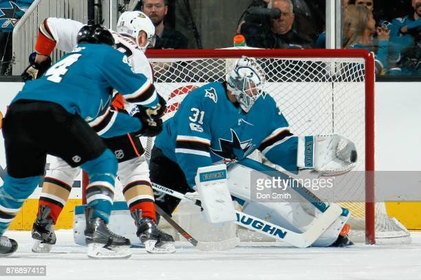 Martin Jones of the San Jose Sharks makes a save during a NHL game against the Anaheim Ducks at SAP Center on November 20 2017 in San Jose California
