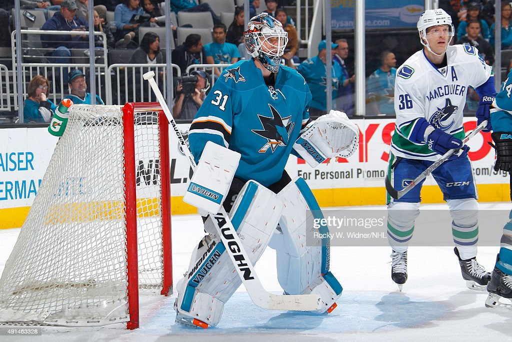 Martin Jones #31 of the San Jose Sharks protects the net against the Vancouver Canucks at SAP Center on September 29, 2015 in San Jose, California.