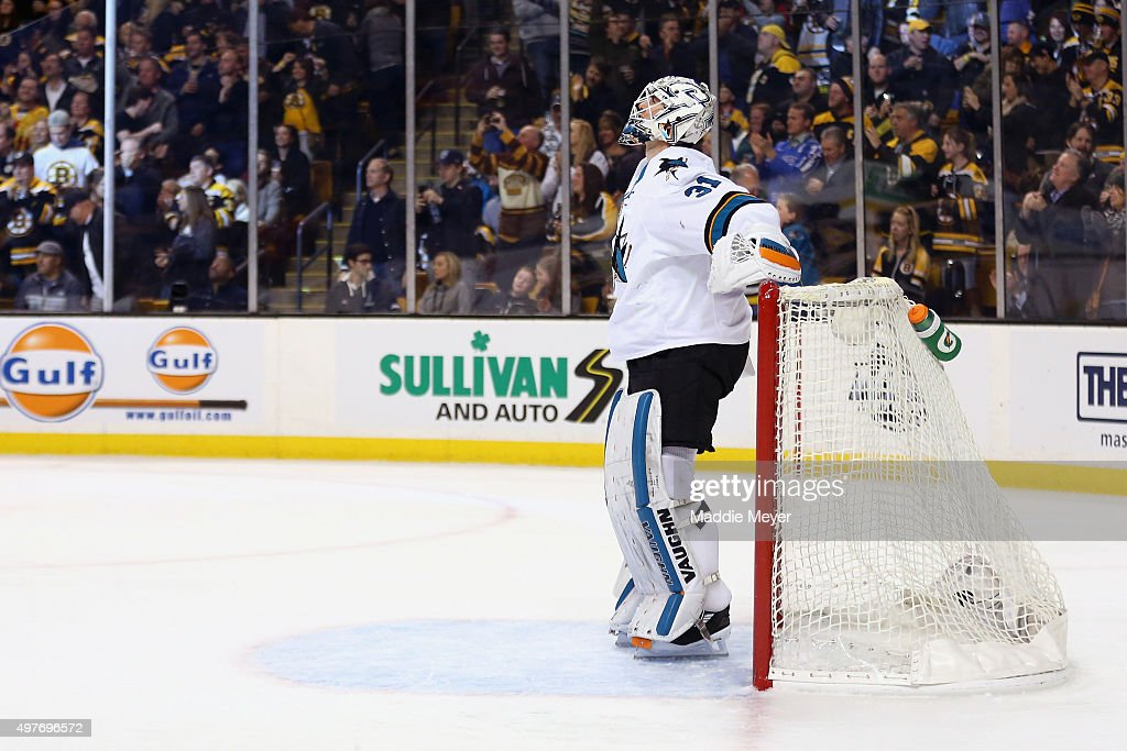<a gi-track='captionPersonalityLinkClicked' href=/galleries/search?phrase=Martin+Jones+-+Ice+Hockey+Player&family=editorial&specificpeople=12318960 ng-click='$event.stopPropagation()'>Martin Jones</a> #31 of the San Jose Sharks reacts after allowing a goal by the Boston Bruins during the first period at TD Garden on November 17, 2015 in Boston, Massachusetts.