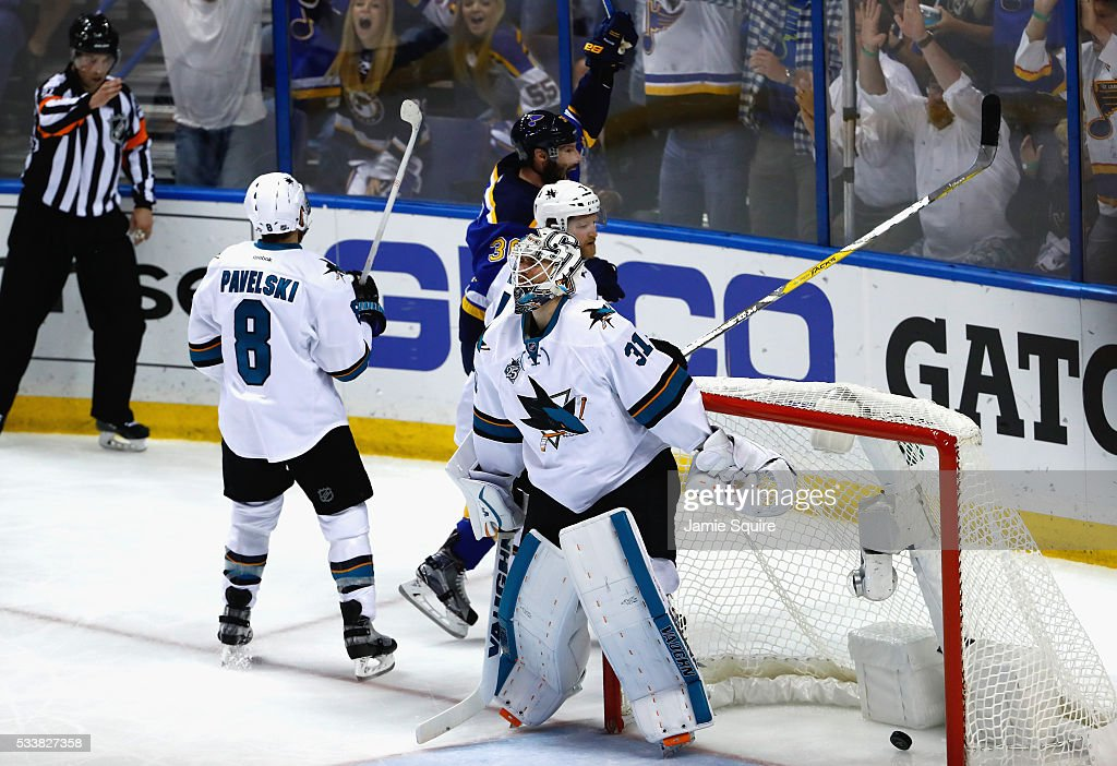<a gi-track='captionPersonalityLinkClicked' href=/galleries/search?phrase=Martin+Jones+-+Ice+Hockey+Player&family=editorial&specificpeople=12318960 ng-click='$event.stopPropagation()'>Martin Jones</a> #31 of the San Jose Sharks reacts after being scored on by <a gi-track='captionPersonalityLinkClicked' href=/galleries/search?phrase=Troy+Brouwer&family=editorial&specificpeople=4155305 ng-click='$event.stopPropagation()'>Troy Brouwer</a> #36 of the St. Louis Blues during the first period in Game Five of the Western Conference Final during the 2016 NHL Stanley Cup Playoffs at Scottrade Center on May 23, 2016 in St Louis, Missouri.