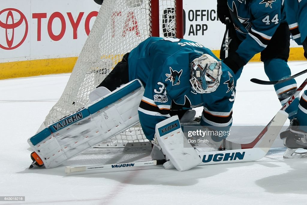 Martin Jones #31of the San Jose Sharks makes a save during a NHL game against the Boston Bruins at SAP Center at San Jose on February 19, 2017 in San Jose, California.