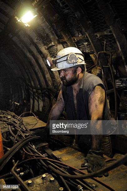 Martin Jurina a miner pauses at the shaft of the Paskov coal mine owned by OKD AS in Staric Czech Republic on Thursday June 26 2008 OKD is the Czech...