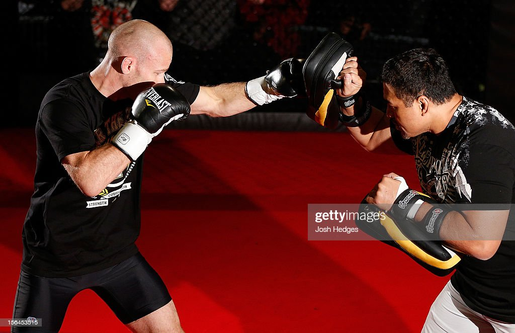]<a gi-track='captionPersonalityLinkClicked' href=/galleries/search?phrase=Martin+Kampmann&family=editorial&specificpeople=5525013 ng-click='$event.stopPropagation()'>Martin Kampmann</a> works out for media and fans during an open training session ahead of UFC 154 at New City Gas on November 15, 2012 in Montreal, Quebec, Canada.