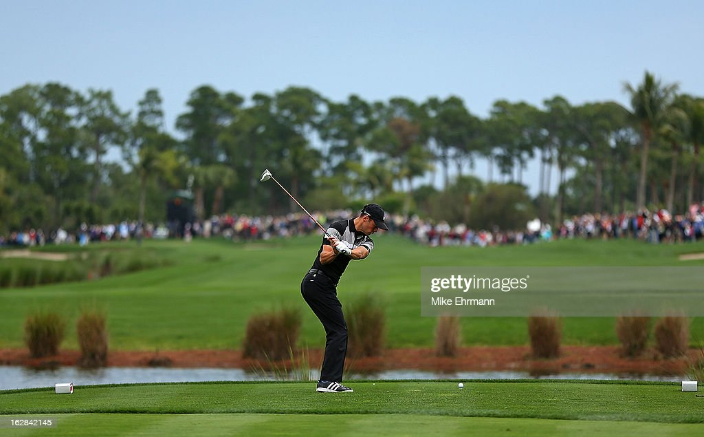 Martin Kaymer from Germany hits his tee shot on the sixth hole during the first round of the Honda Classic at PGA National Resort and Spa on February 28, 2013 in Palm Beach Gardens, Florida.