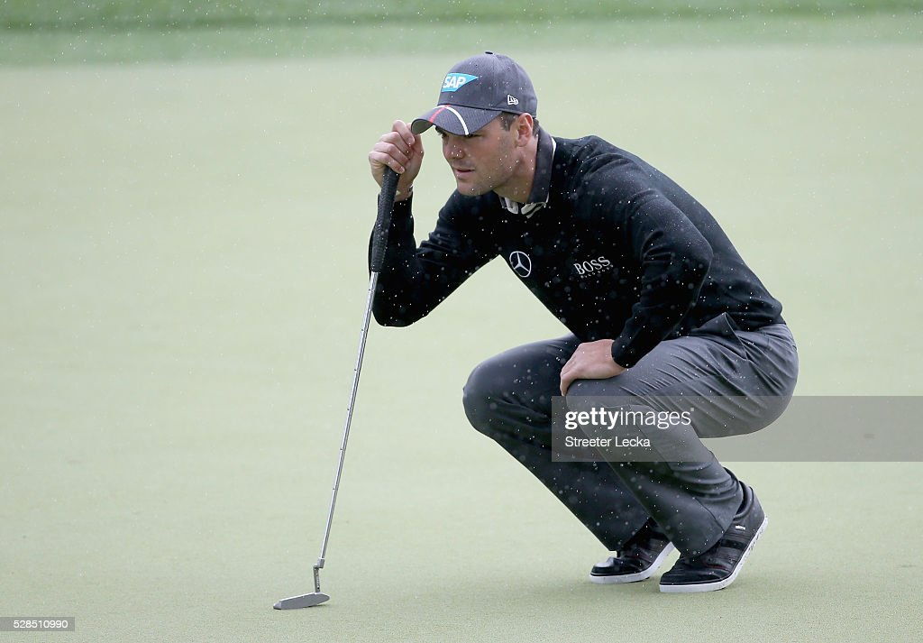 Martin Kaymer lines up a putt on the second hole during the first round of the 2016 Wells Fargo Championship at Quail Hollow Club on May 5, 2016 in Charlotte, North Carolina.