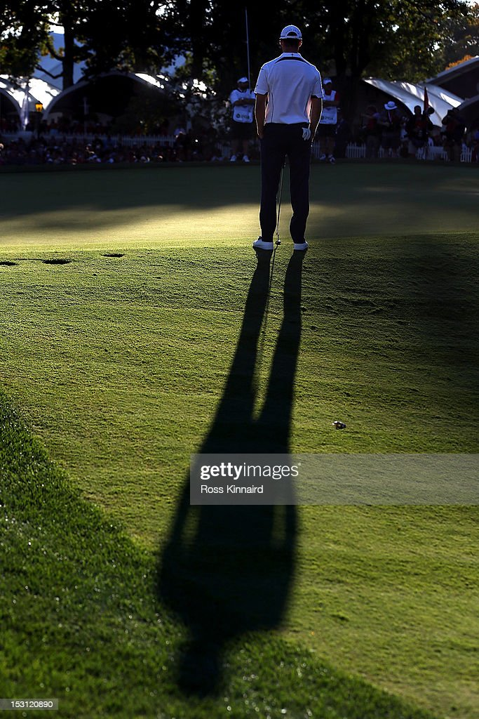 Martin Kaymer of Europe waits on the 18th green during the Singles Matches for The 39th Ryder Cup at Medinah Country Club on September 30, 2012 in Medinah, Illinois.