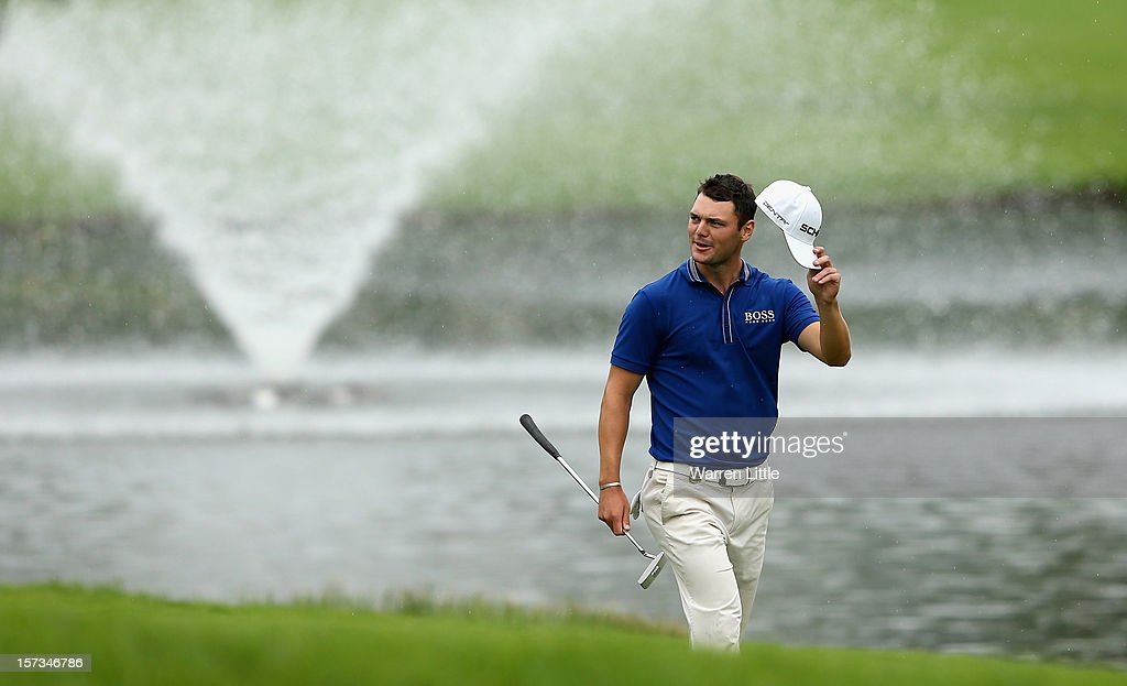 Martin Kaymer of Germany acknowledges the crowd en route to winning the Nedbank Golf Challenge at the Gary Player Country Club on December 2, 2012 in Sun City, South Africa.