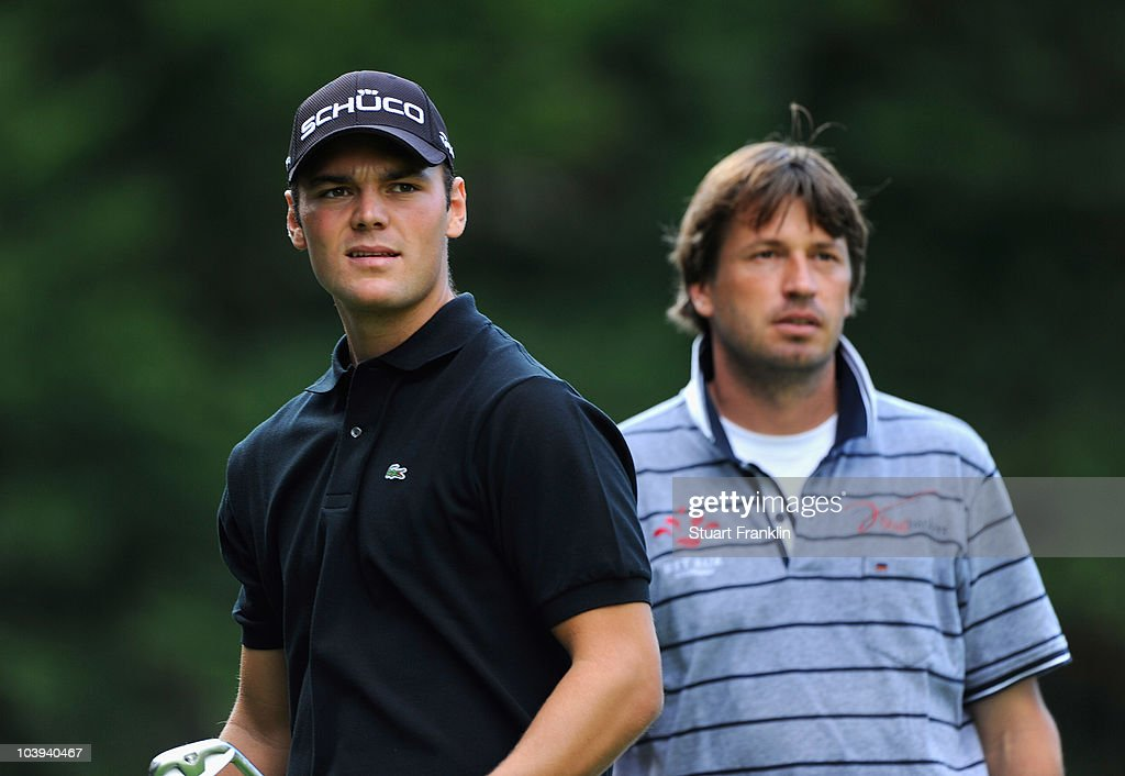 Martin Kaymer of Germany and Robert Jan Derksen of The Netherlands on the second hole during the first round of The KLM Open Golf at The...