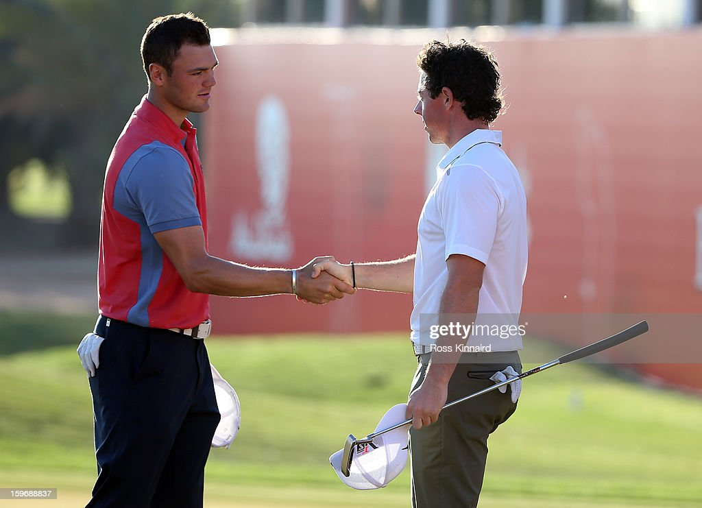 Martin Kaymer of Germany and Rory McIlroy of Northern Ireland during the second round of the Abu Dhabi HSBC Golf Championship at the Abu Dhabi Golf Club on January 18, 2013 in Abu Dhabi, United Arab Emirates.