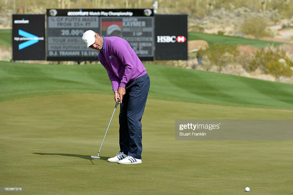 Martin Kaymer of Germany attempts a putt during the second round of the World Golf Championships - Accenture Match Play at the Golf Club at Dove Mountain on February 22, 2013 in Marana, Arizona.