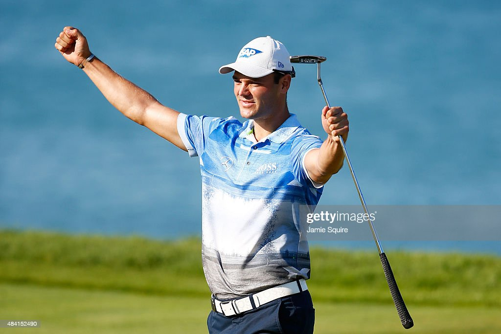 Martin Kaymer of Germany celebrates a birdie putt on the 17th green during the third round of the 2015 PGA Championship at Whistling Straits at on August 15, 2015 in Sheboygan, Wisconsin.