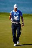 Martin Kaymer of Germany celebrates a birdie putt on the 17th green during the third round of the 2015 PGA Championship at Whistling Straits at on...