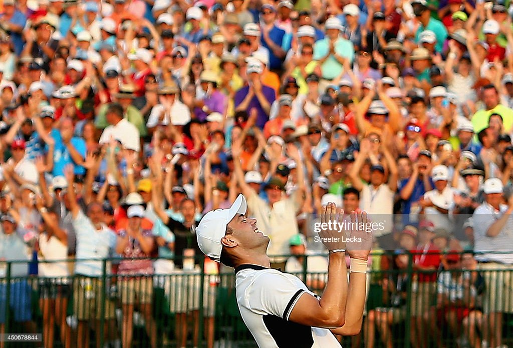 Martin Kaymer of Germany celebrates his eight-stroke victory on the 18th green during the final round of the 114th U.S. Open at Pinehurst Resort & Country Club, Course No. 2 on June 15, 2014 in Pinehurst, North Carolina.