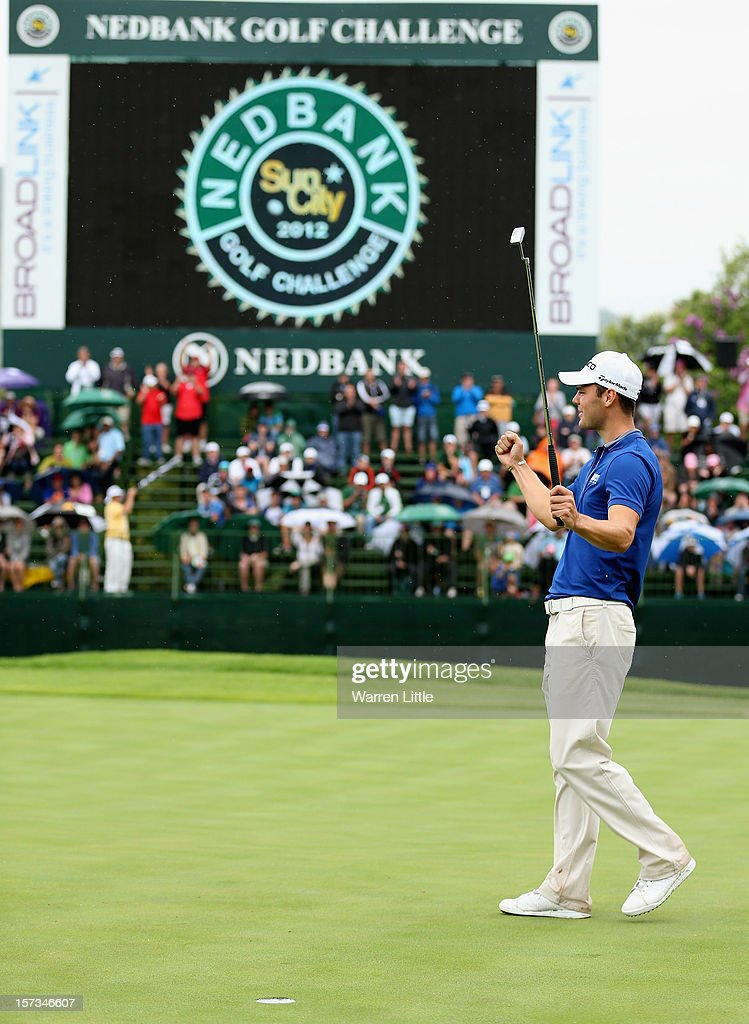 Martin Kaymer of Germany celebrates winning the Nedbank Golf Challenge at the Gary Player Country Club on December 2 2012 in Sun City South Africa