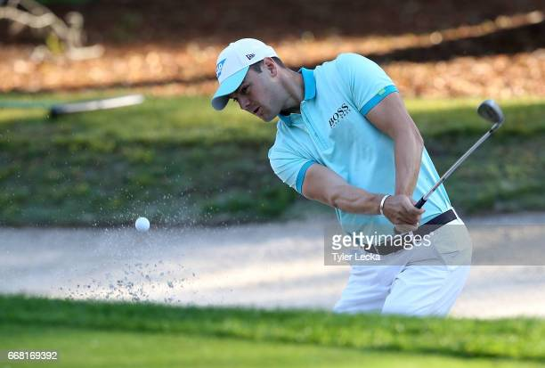 Martin Kaymer of Germany hits a bunker shot on the 11th hole during the first round of the 2017 RBC Heritage at Harbour Town Golf Links on April 13...