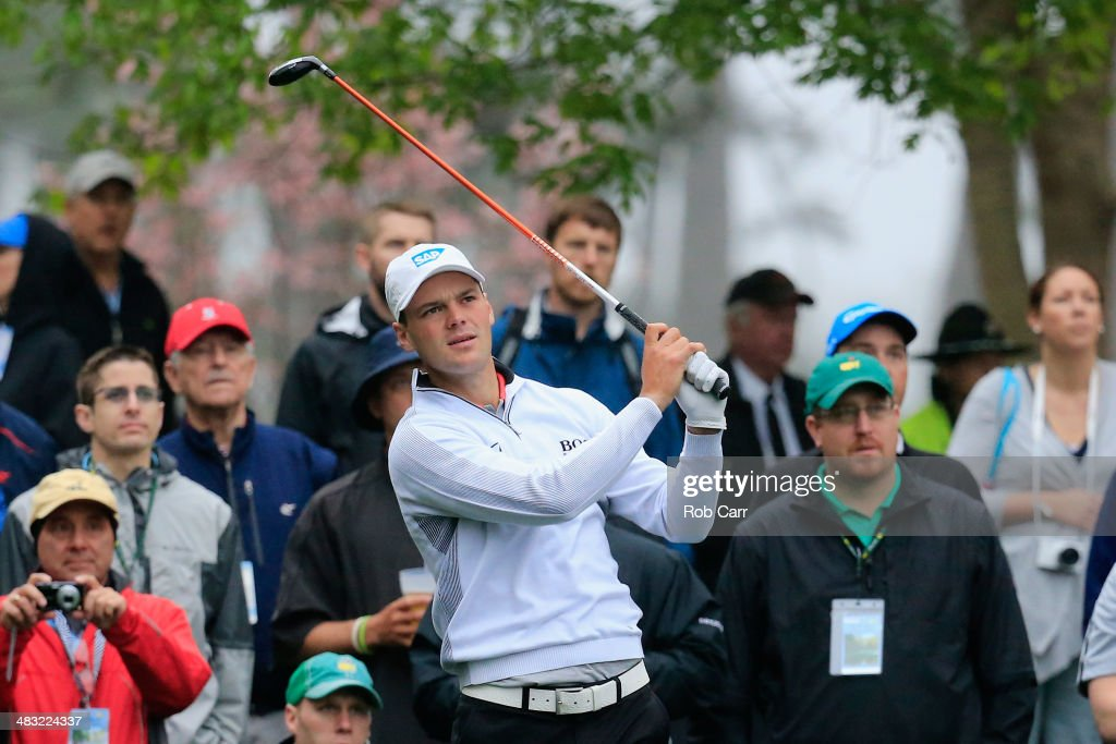 Martin Kaymer of Germany hits a shot during a practice round prior to the start of the 2014 Masters Tournament at Augusta National Golf Club on April 7, 2014 in Augusta, Georgia.