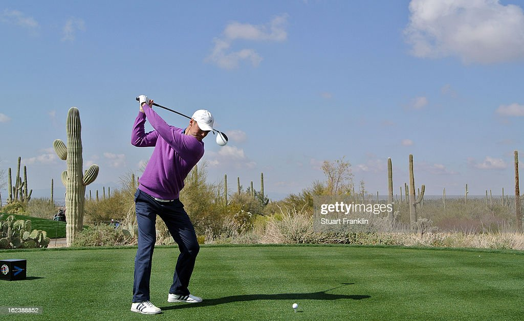 Martin Kaymer of Germany hits a shot on the fifth hole during the second round of the World Golf Championships - Accenture Match Play at the Golf Club at Dove Mountain on February 22, 2013 in Marana, Arizona.