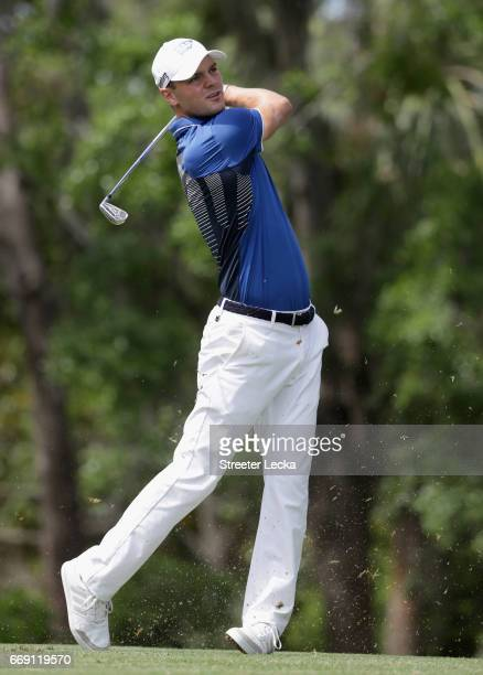 Martin Kaymer of Germany hits a tee shot on the 14th hole during the final round of the 2017 RBC Heritage at Harbour Town Golf Links on April 16 2017...
