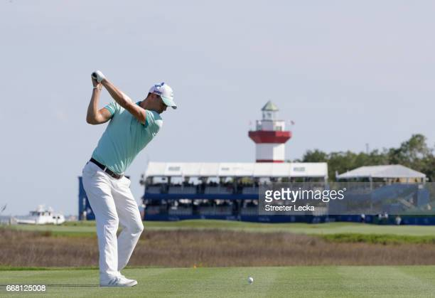 Martin Kaymer of Germany hits a tee shot on the 18th hole during the first round of the 2017 RBC Heritage at Harbour Town Golf Links on April 13 2017...