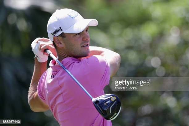 Martin Kaymer of Germany hits a tee shot on the eighth hole during the second round of the 2017 RBC Heritage at Harbour Town Golf Links on April 14...