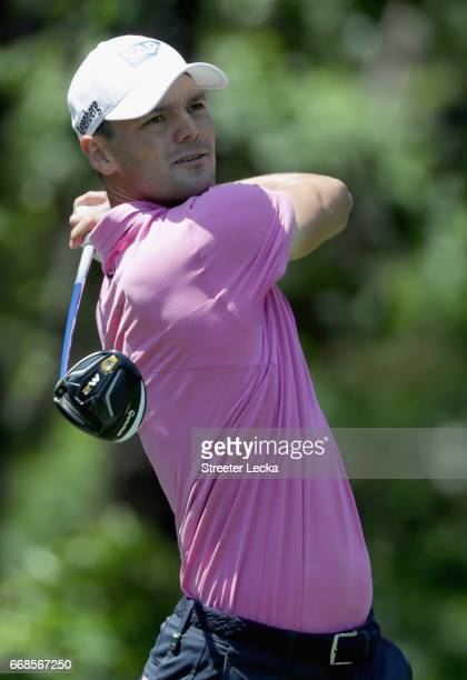 Martin Kaymer of Germany hits a tee shot on the fifth hole during the second round of the 2017 RBC Heritage at Harbour Town Golf Links on April 14...