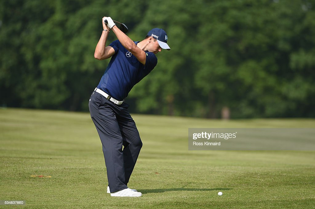 Martin Kaymer of Germany hits his 2nd shot on the 17th hole during day three of the BMW PGA Championship at Wentworth on May 28, 2016 in Virginia Water, England.