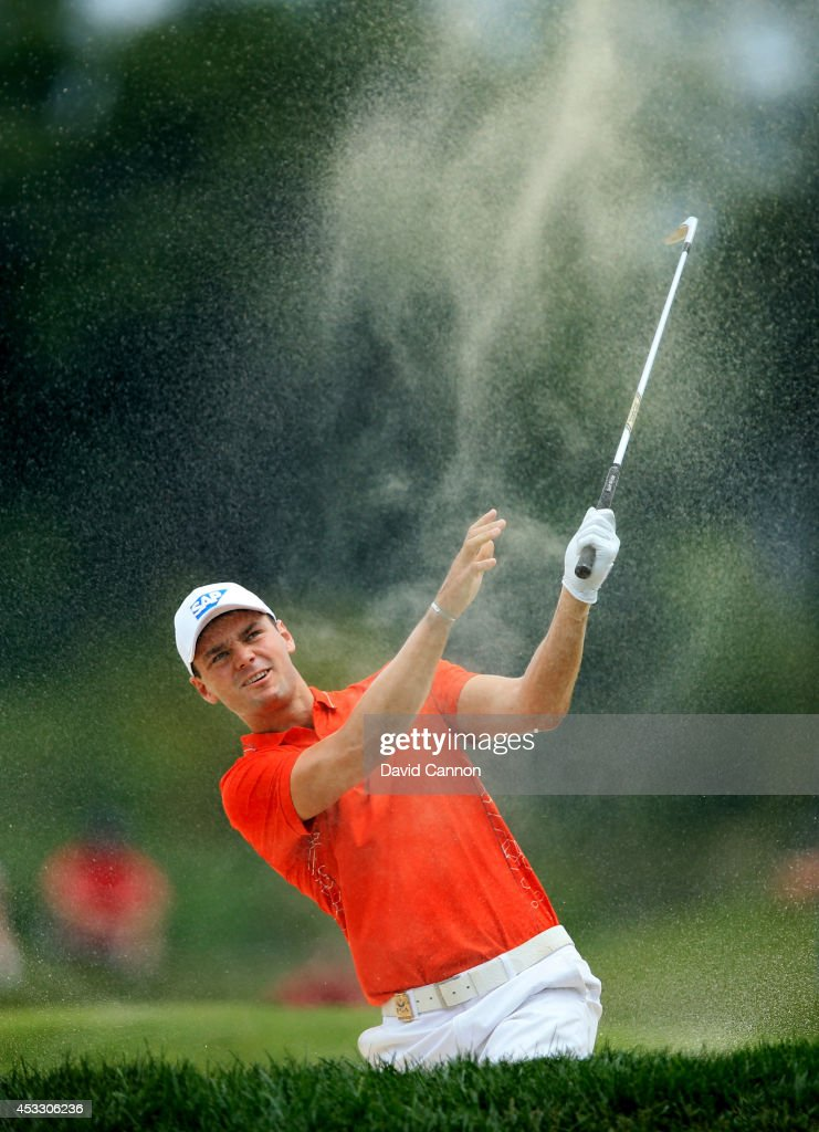 Martin Kaymer of Germany hits his second shot on the fifth hole during the first round of the 96th PGA Championship at Valhalla Golf Club on August 7...