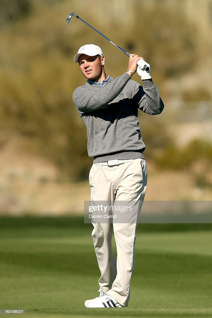 Martin Kaymer of Germany hits his second shot on the par 4th 18th hole during the third round of the World Golf Championships - Accenture Match Play at the Golf Club against Hunter Mahan at Dove Mountain on February 23, 2013 in Marana, Arizona.
