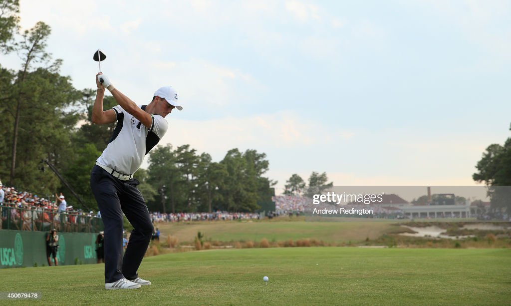 <a gi-track='captionPersonalityLinkClicked' href=/galleries/search?phrase=Martin+Kaymer&family=editorial&specificpeople=2143733 ng-click='$event.stopPropagation()'>Martin Kaymer</a> of Germany hits his tee shot on the 18th hole during the final round of the 114th U.S. Open at Pinehurst Resort & Country Club, Course No. 2 on June 15, 2014 in Pinehurst, North Carolina.