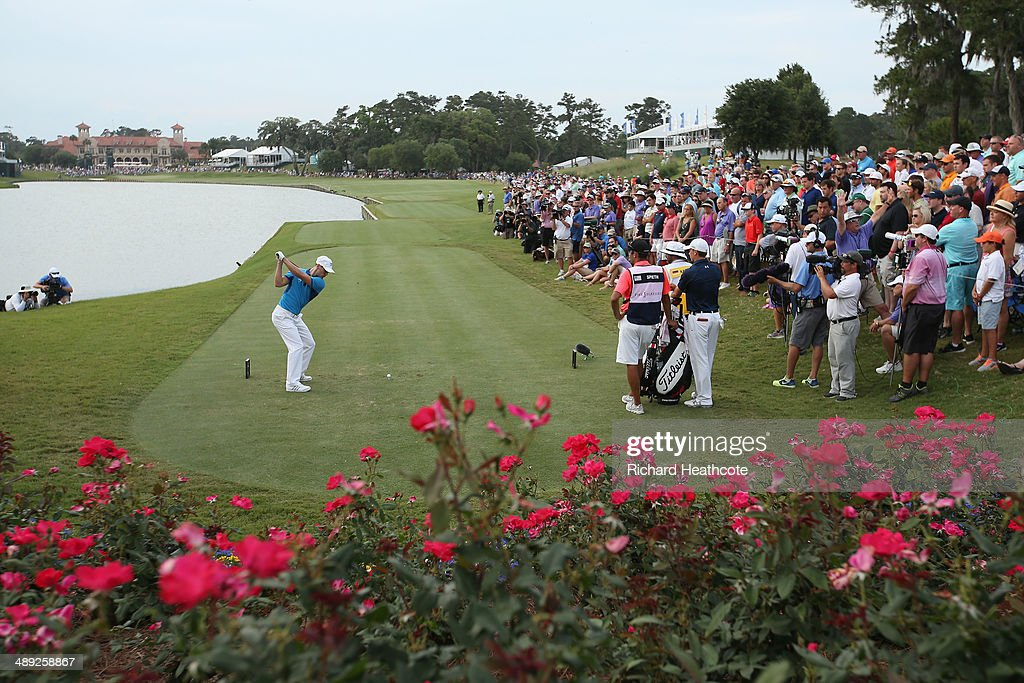 Martin Kaymer of Germany hits his tee shot on the 18th hole during the third round of THE PLAYERS Championship on the stadium course at TPC Sawgrass...