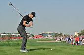 Martin Kaymer of Germany hits his tee shot on the ninth hole during the third round of the Abu Dhabi HSBC Golf Championship at the Abu Dhabi Golf Cub...