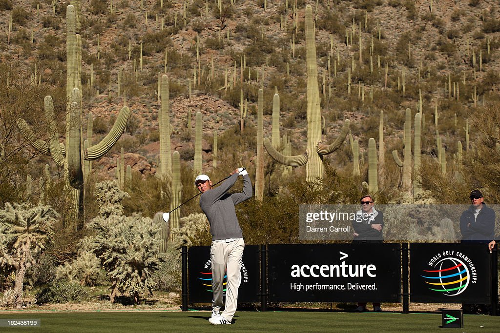 Martin Kaymer of Germany hits his tee shot on the par 4th 17th hole during the third round of the World Golf Championships - Accenture Match Play at the Golf Club against Hunter Mahan at Dove Mountain on February 23, 2013 in Marana, Arizona.