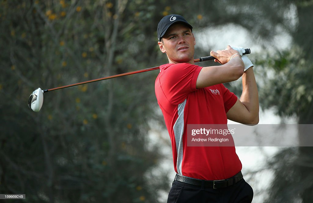 Martin Kaymer of Germany hits his tee-shot on the 12th hole during the second round of the Commercial Bank Qatar Masters held at Doha Golf Club on January 24, 2013 in Doha, Qatar.