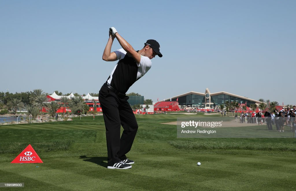 Martin Kaymer of Germany hits his tee-shot on the ninth hole during the first round of The Abu Dhabi HSBC Golf Championship at Abu Dhabi Golf Club on January 17, 2013 in Abu Dhabi, United Arab Emirates.