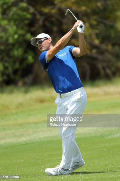 Martin Kaymer of Germany hits his third shot on the 2nd hole during the final round of the Nedbank Golf Challenge at Gary Player CC on November 12...