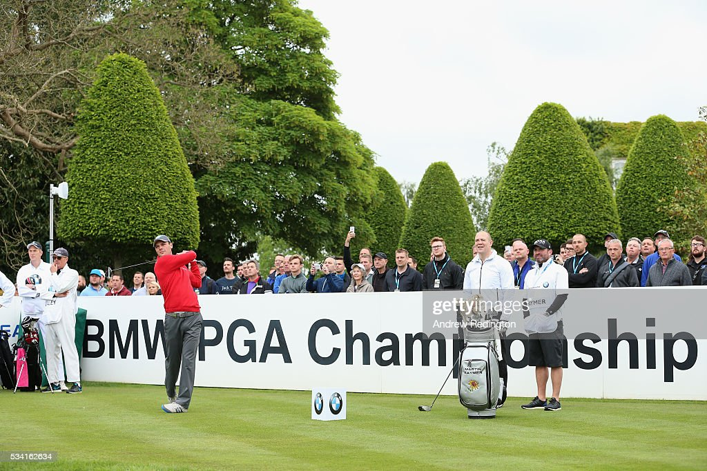 <a gi-track='captionPersonalityLinkClicked' href=/galleries/search?phrase=Martin+Kaymer&family=editorial&specificpeople=2143733 ng-click='$event.stopPropagation()'>Martin Kaymer</a> of Germany in action during the Pro-Am prior to the BMW PGA Championship at Wentworth on May 25, 2016 in Virginia Water, England.