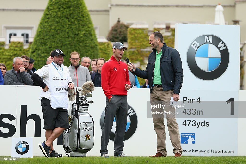<a gi-track='captionPersonalityLinkClicked' href=/galleries/search?phrase=Martin+Kaymer&family=editorial&specificpeople=2143733 ng-click='$event.stopPropagation()'>Martin Kaymer</a> of Germany is interviewed on the first tee during the Pro-Am prior to the BMW PGA Championship at Wentworth on May 25, 2016 in Virginia Water, England.