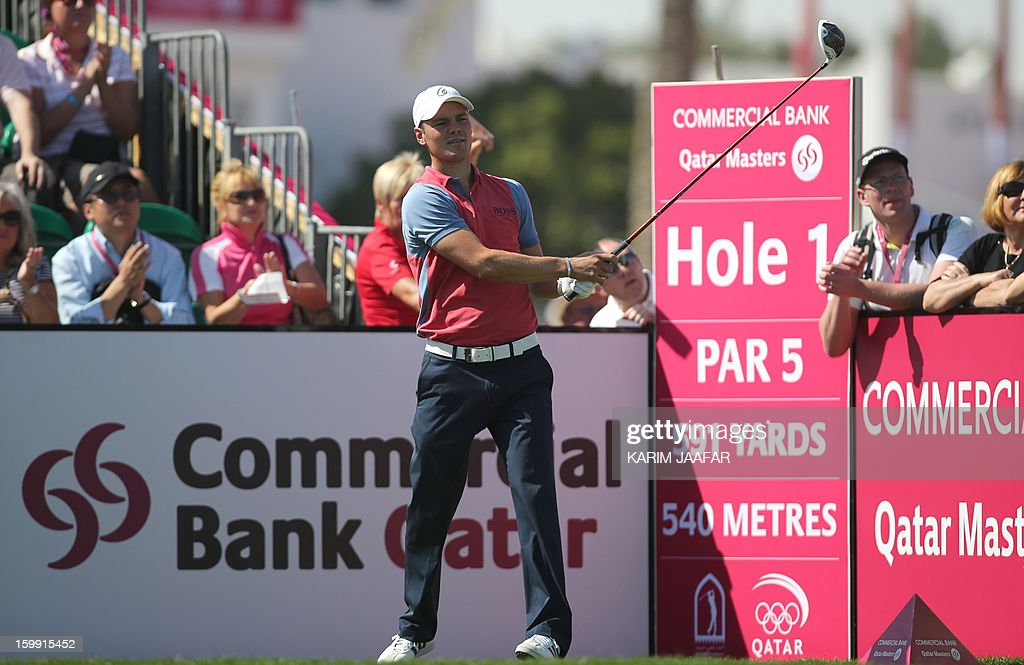 Martin Kaymer of Germany is seen in the action during the first round of the Qatar Masters Golf tournament in the Qatari capital Doha, on January 23, 2013.