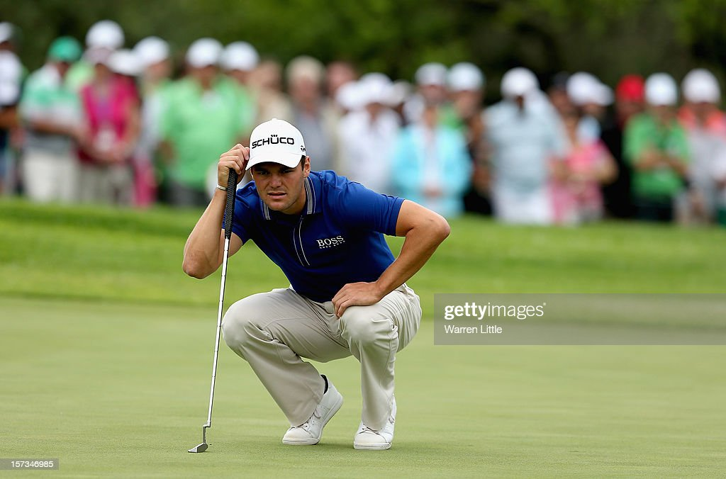 Martin Kaymer of Germany lines up a putt during the final round of the Nedbank Golf Challenge at the Gary Player Country Club on December 2, 2012 in Sun City, South Africa.