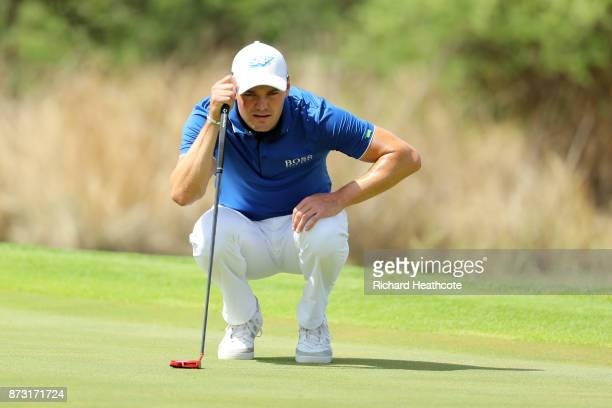 Martin Kaymer of Germany lines up a putt during the final round of the Nedbank Golf Challenge at Gary Player CC on November 12 2017 in Sun City South...