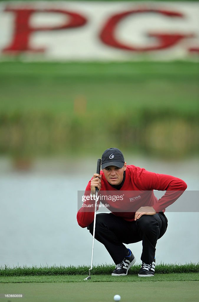 Martin Kaymer of Germany lines up a putt during the first round of the Honda Classic on February 28, 2013 in Palm Beach Gardens, Florida.