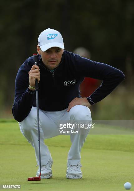 Martin Kaymer of Germany lines up a putt on the first green during day one of Made in Denmark at Himmerland Golf Spa Resort on August 24 2017 in...