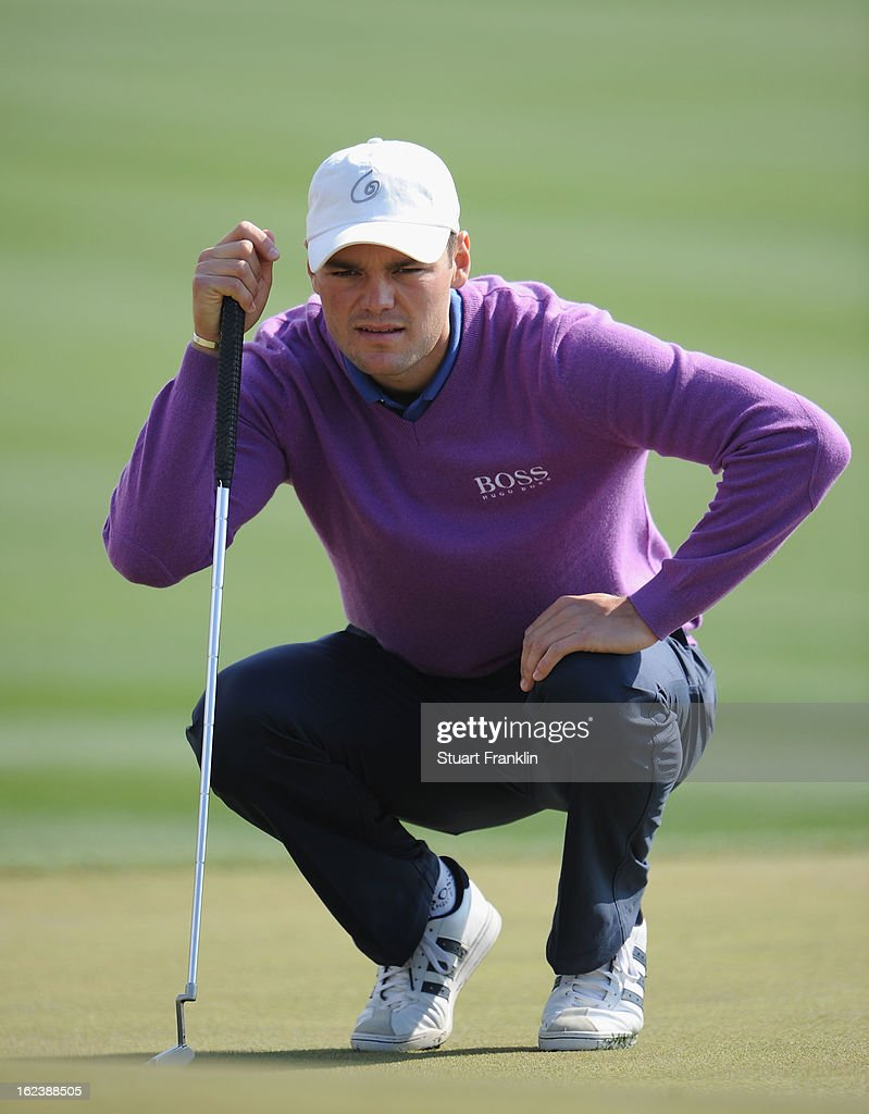 Martin Kaymer of Germany lines up a putt on the second hole green during the second round of the World Golf Championships - Accenture Match Play at the Golf Club at Dove Mountain on February 22, 2013 in Marana, Arizona.